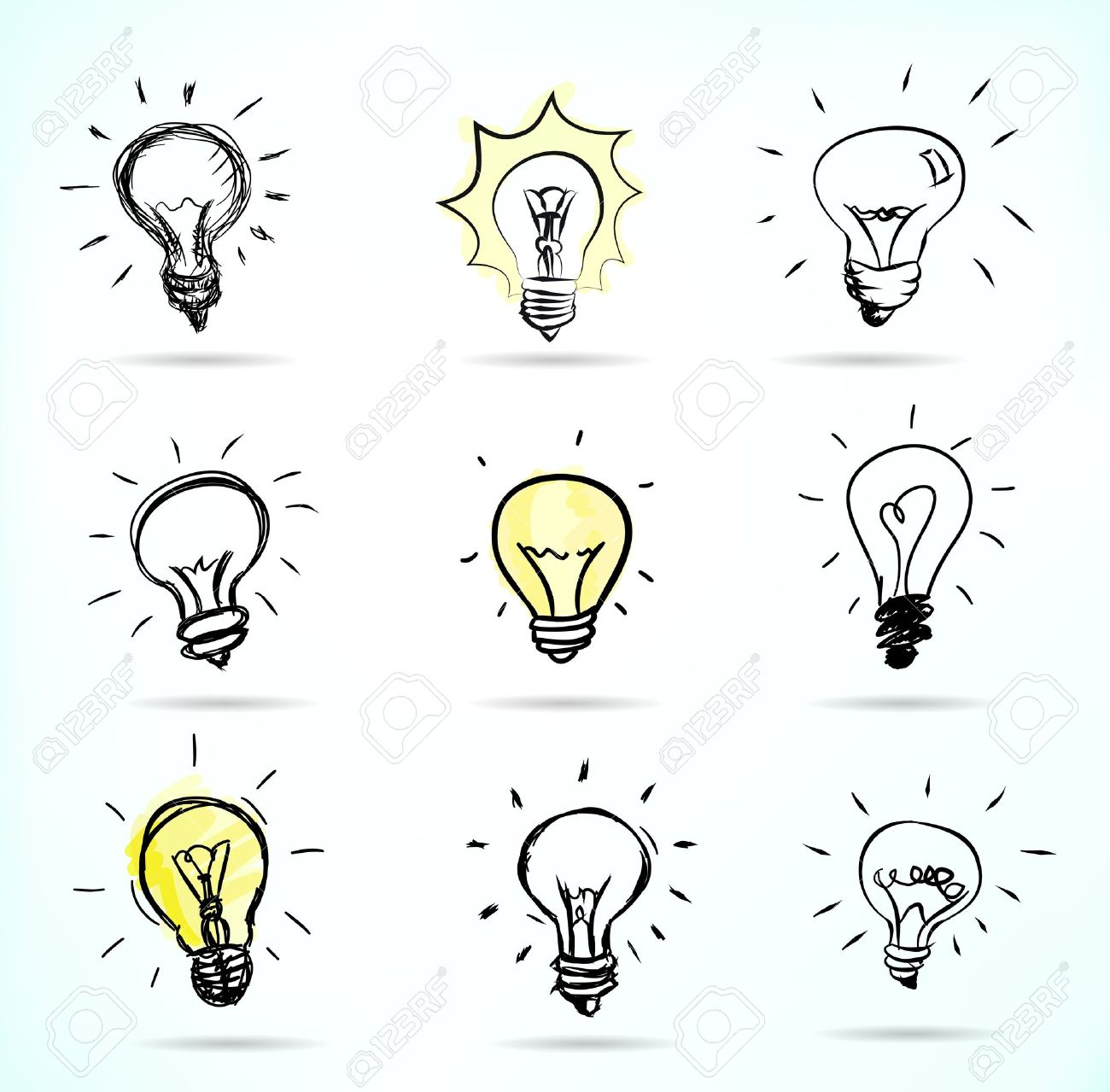 Hand-drawn light bulb illustrations Stock Vector - 12004342