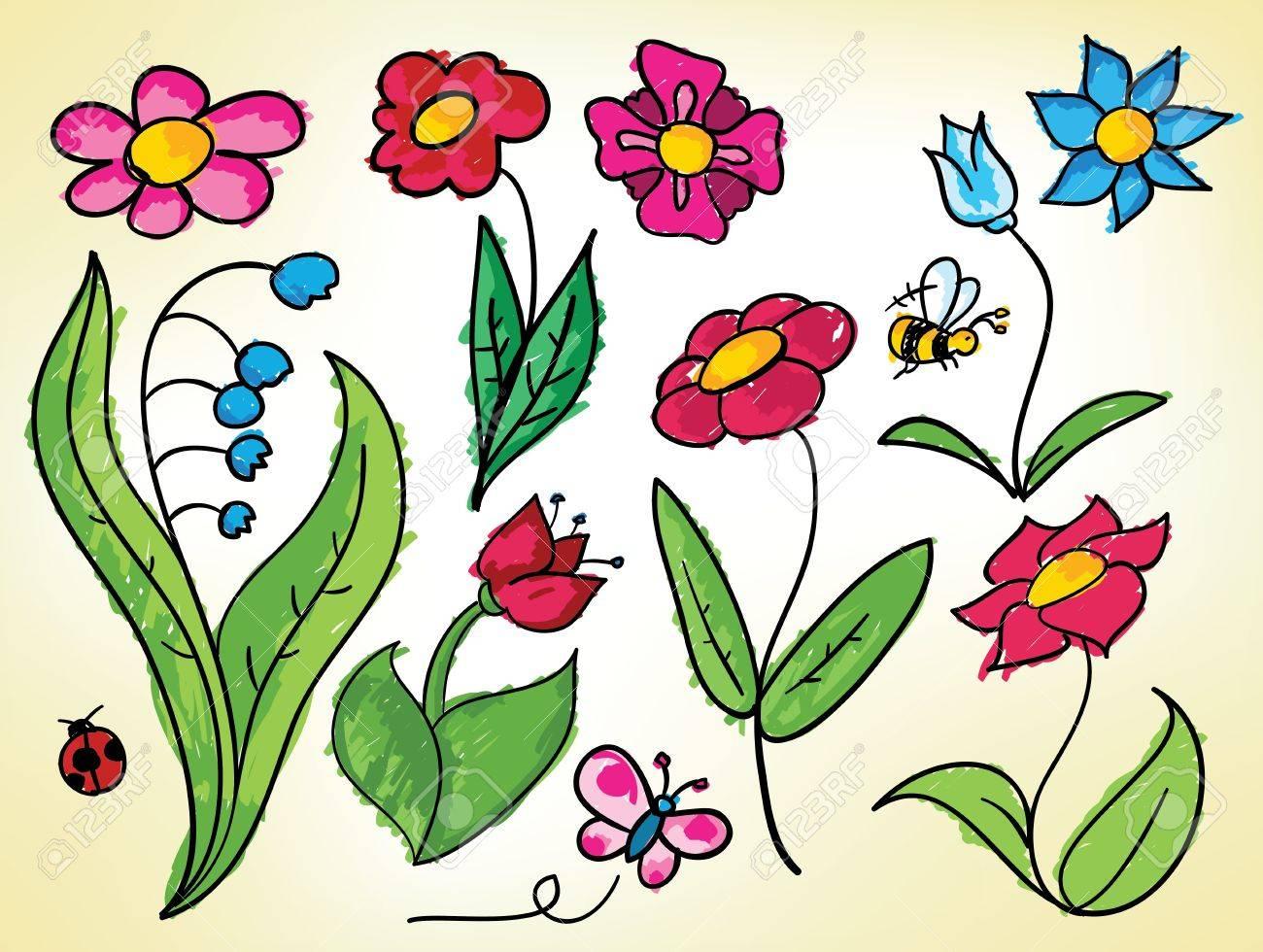 Dibujos Infantiles De Flores Bichos De Colores En Lineas