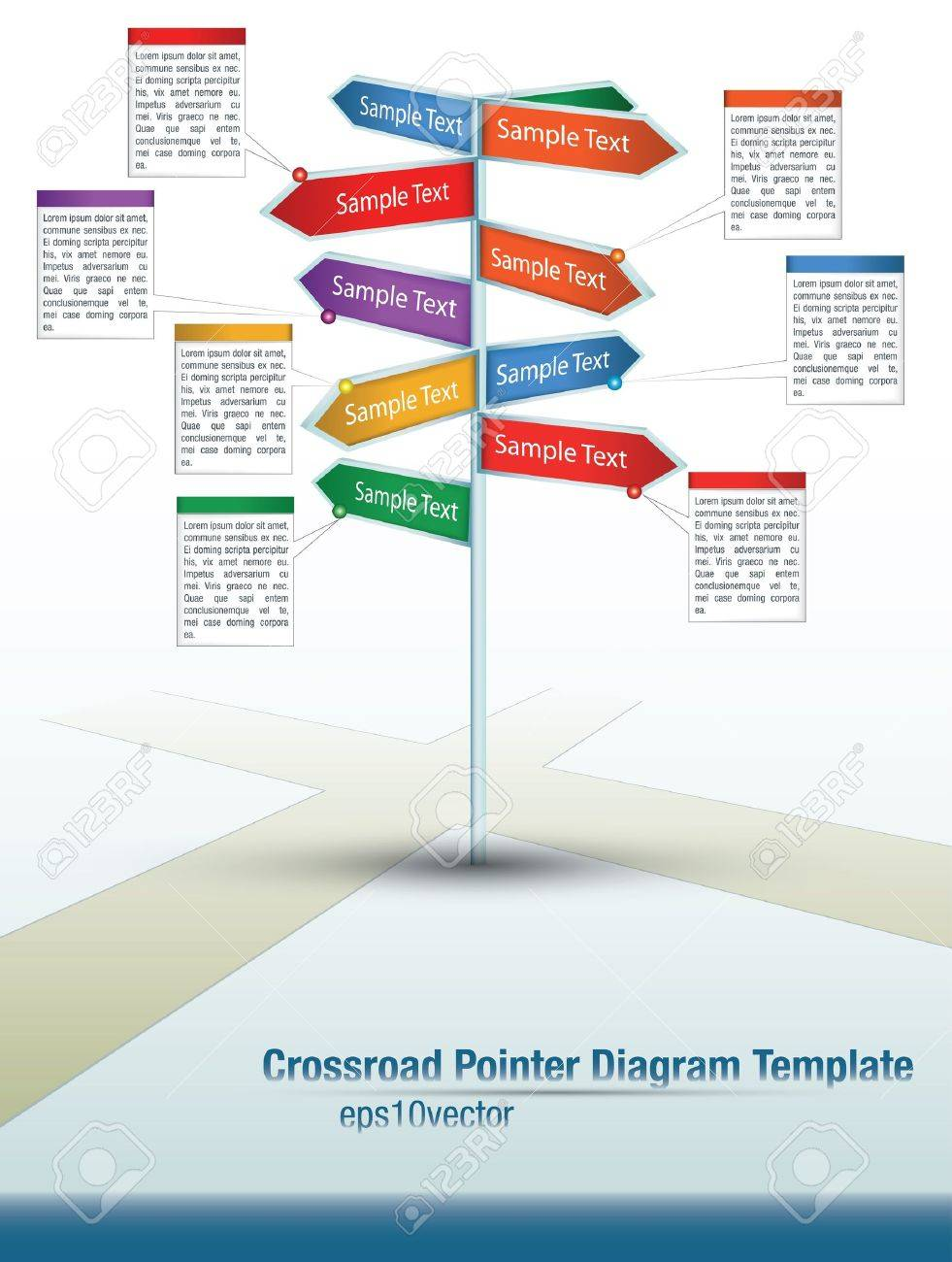 diagram template of multidirectional pointers on a signpost at