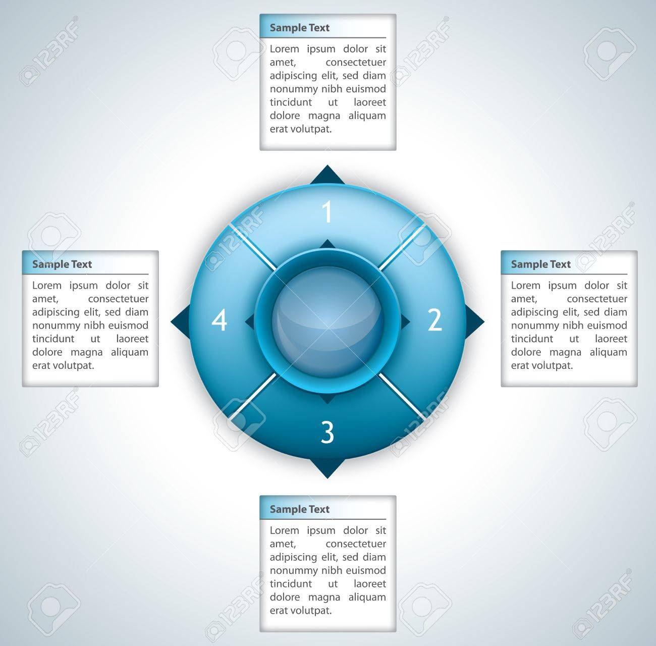 Futuristic diagram with four boxes for text Stock Vector - 15826486