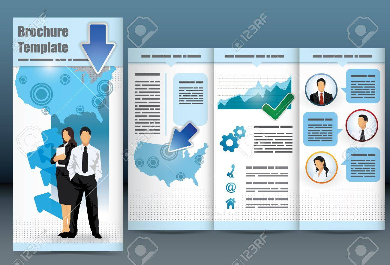 Trifold Business Brochure Template With Location Map, Information ...