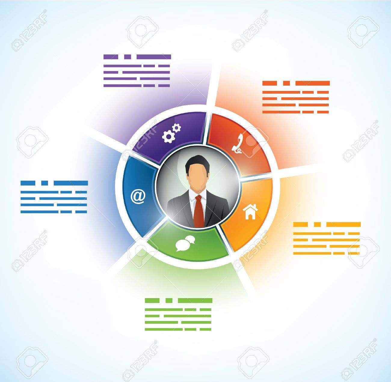 Five parts Presentation Template with a business persons avatar in the middle - 16448816