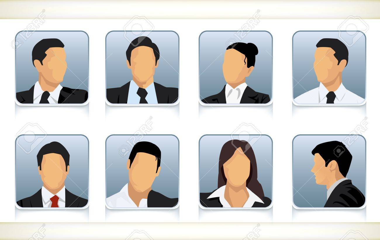 Template illustration of eight faceless or featureless head and template illustration of eight faceless or featureless head and shoulder portraits for male and female businesspeople flashek Image collections