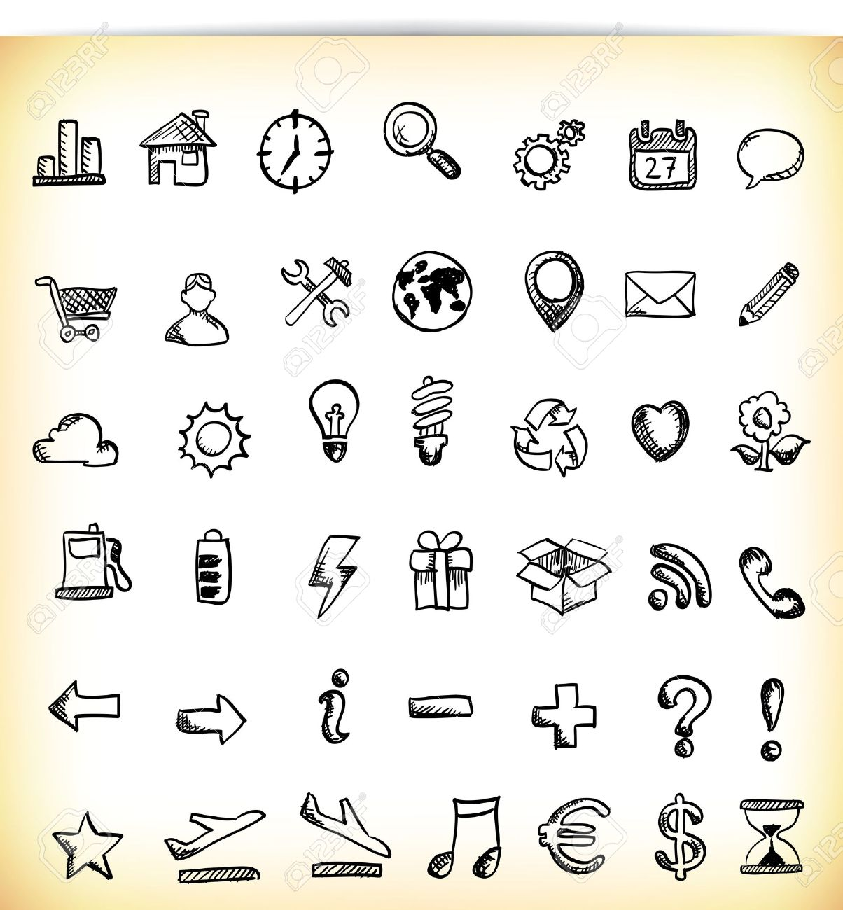 Set of 42 hand-drawn icon in different themes, like work, business, ecology, time and symbols Stock Vector - 17858761