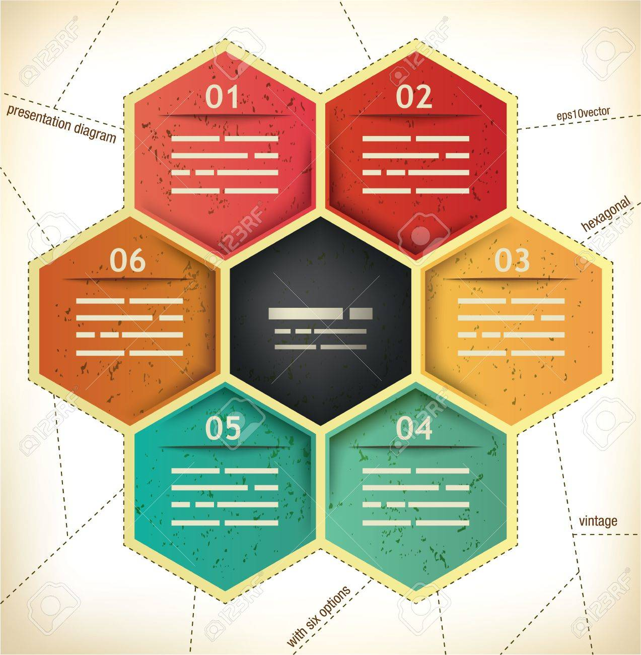 Vintage Presentation Template with six hexagonal spaces for different data Stock Vector - 17984646