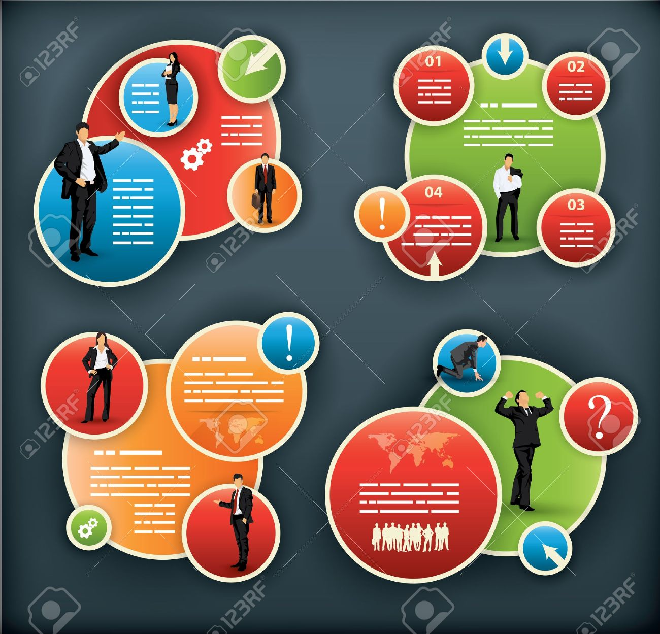 An infographic template for corporate and business with spherical elements and people illustrations Stock Vector - 18085138