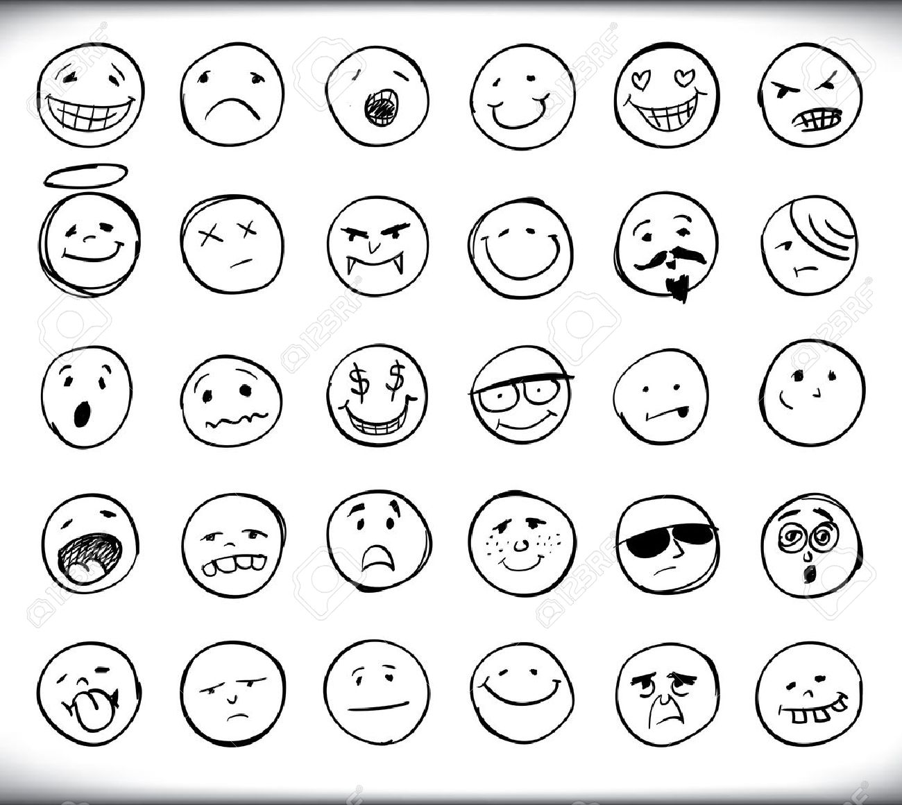 Set of thirty hand drawn emoticons or smileys each with a set of thirty hand drawn emoticons or smileys each with a different facial expression and emotion biocorpaavc Images