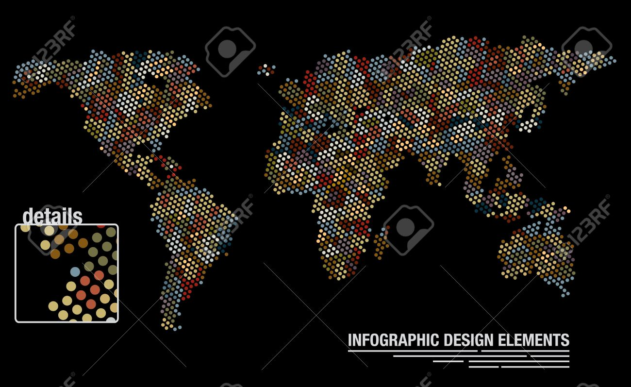 Infographic design template of a world map created from many infographic design template of a world map created from many circles stock vector 19088075 gumiabroncs Choice Image