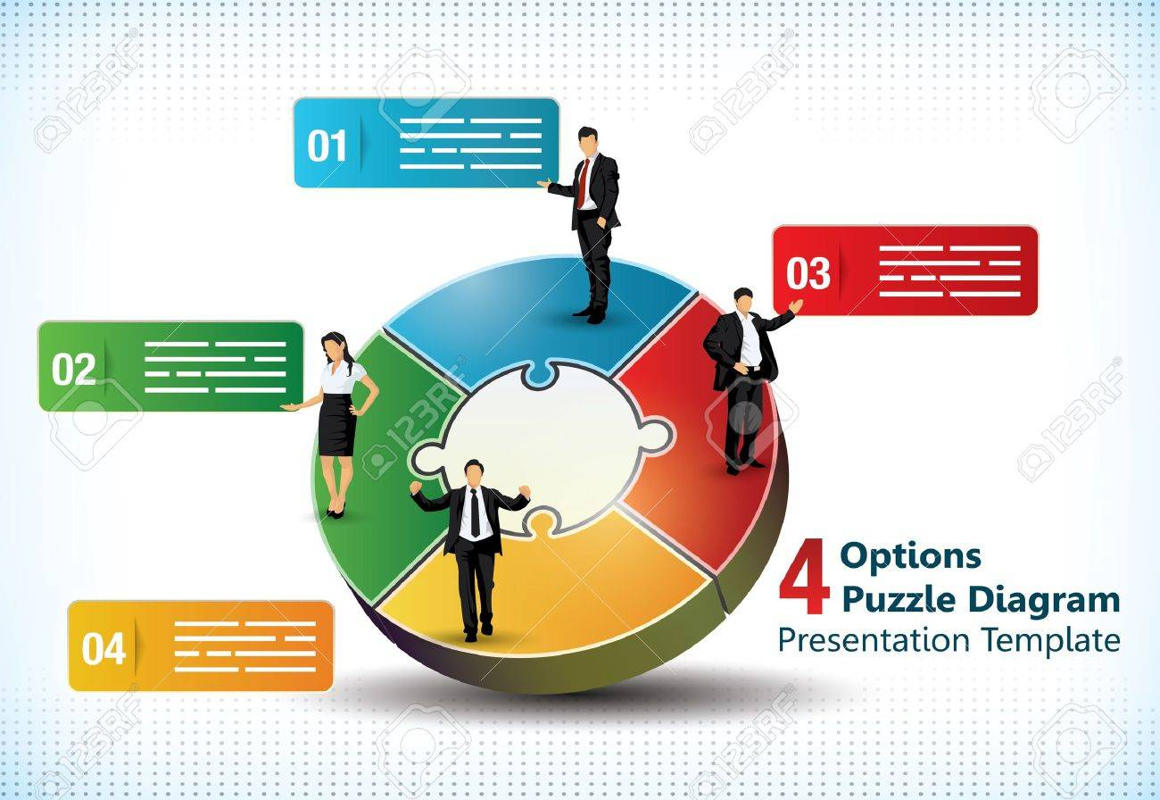 Four sided puzzle presentation template with business people silhouettes and text fields used in commercial designs - 20356631