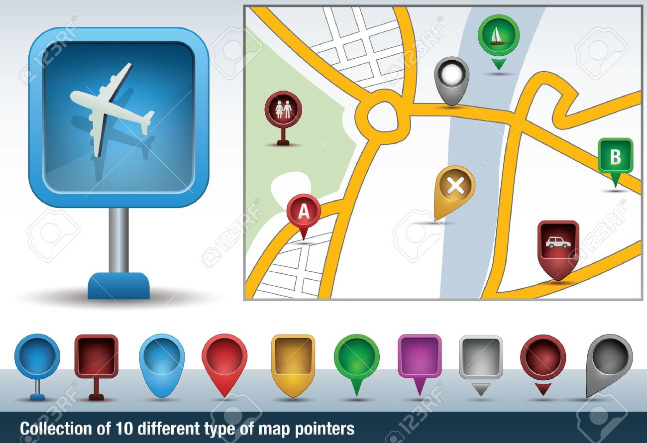 Collection of map indicators, directional signs and pins Stock Vector - 20356632
