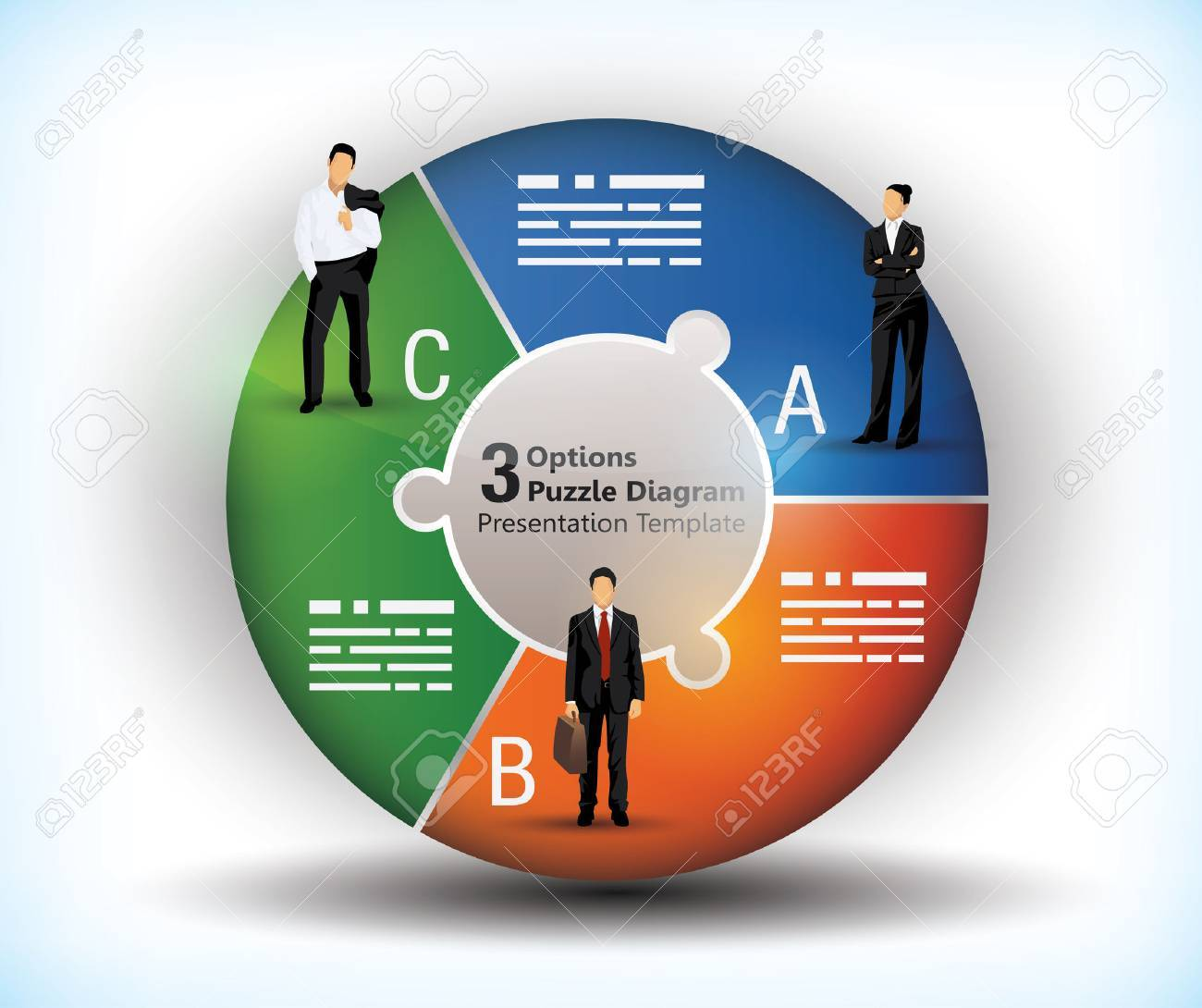 3 sided wheel chart with connected segments and illustration of business people - 23107453