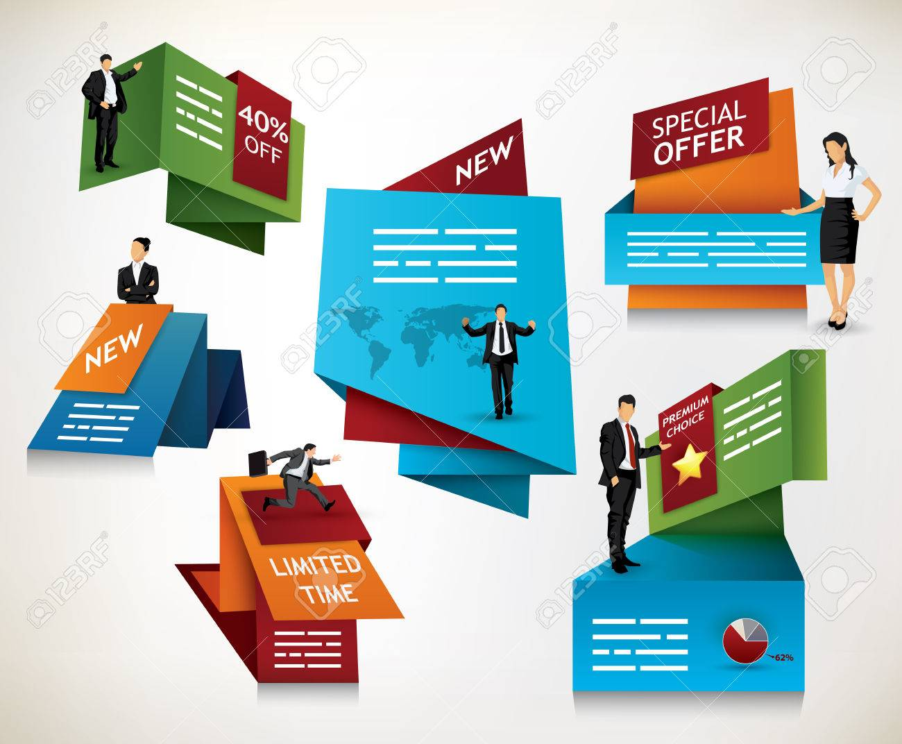 Collection of modern promotional signs for banners, brochures and other media - 25249377