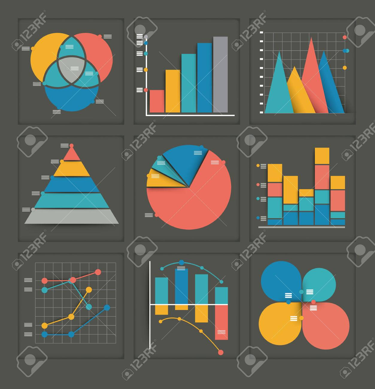 Set of colored vector business graphs in various designs showing set of colored vector business graphs in various designs showing a pyramid pie chart nvjuhfo Image collections