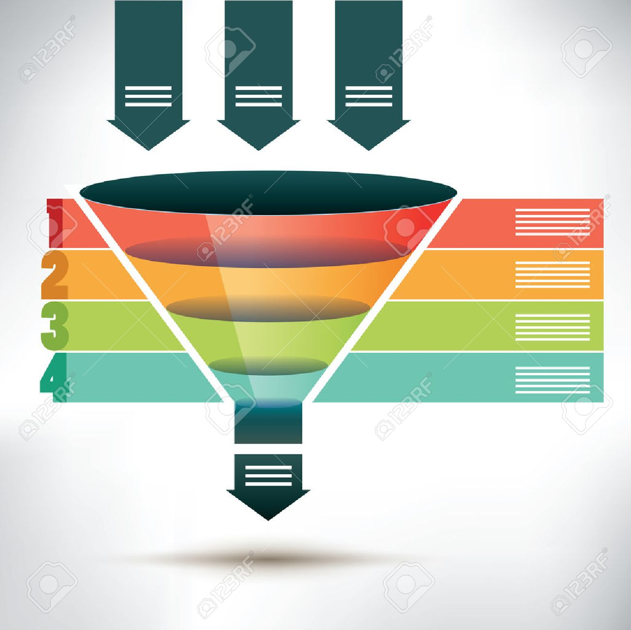 Funnel flow chart template with three arrows showing input into funnel flow chart template with three arrows showing input into the funnel passing four colored banners nvjuhfo Choice Image