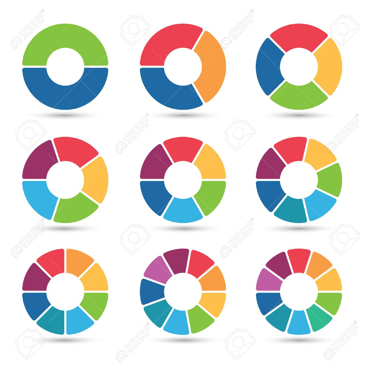 Pie chart stock photos royalty free business images collection of circular diagrams with 2 3 4 5 6 7 nvjuhfo Images