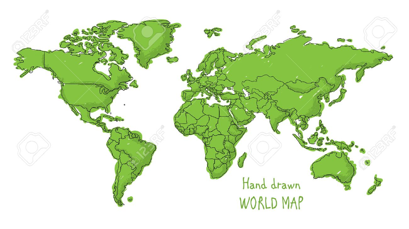 Hand Drawn Map Of The World.Hand Drawn World Map Doodled With A Childish Cartoon Style