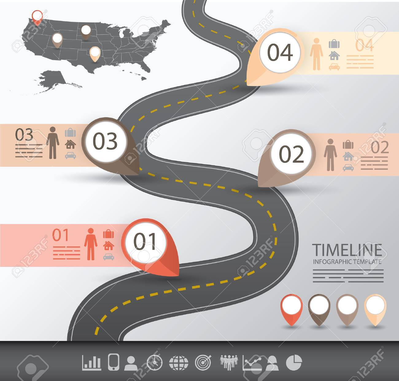 Timeline-Infografik-Vorlage Mit Einer Straße Und Navigationszeiger ...