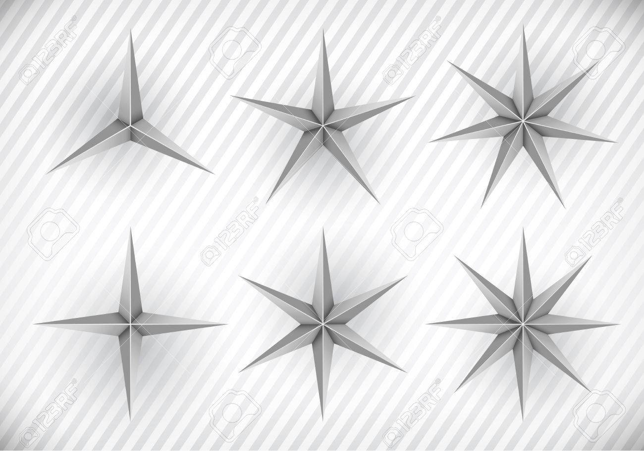 Collection Of Three, Four, Five, Six, Seven And Eight Pointed ...