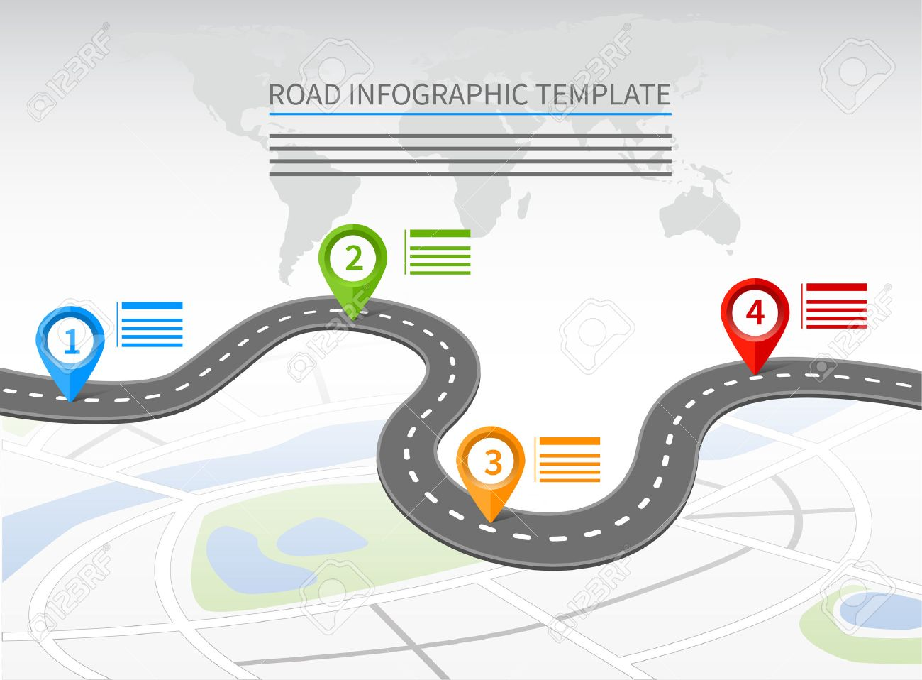 Road infographic template with a curvy road and four pointers - 59195385