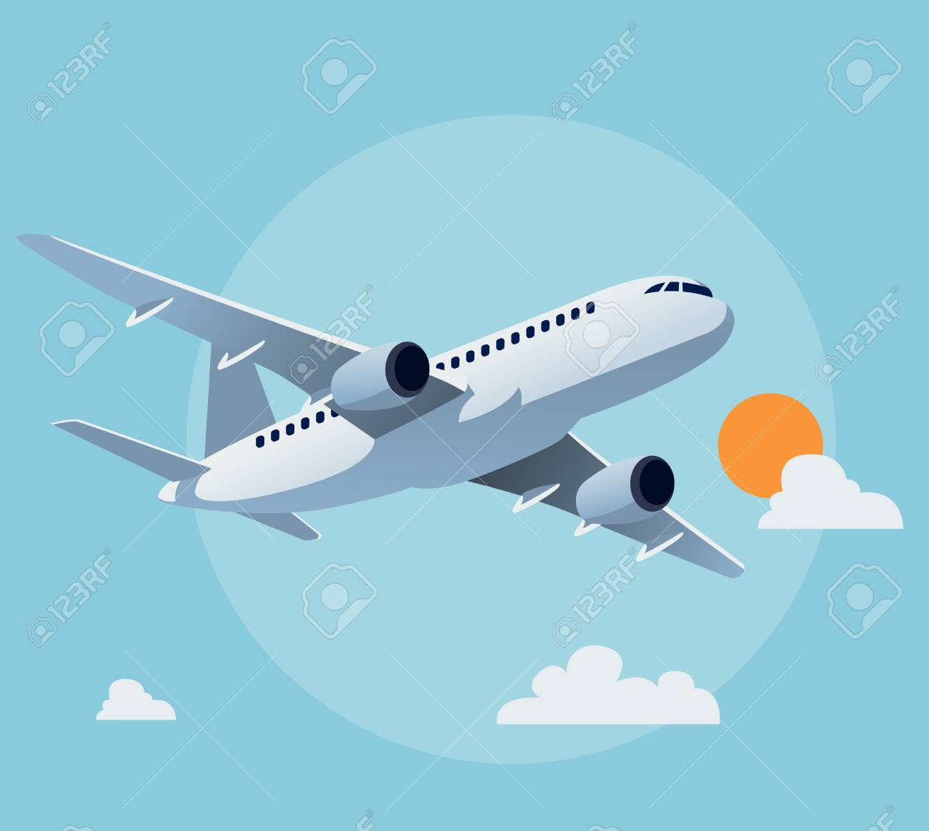 flat airplane illustration, view of a flying aircraft royalty free  cliparts, vectors, and stock illustration. image 59282528.  123rf