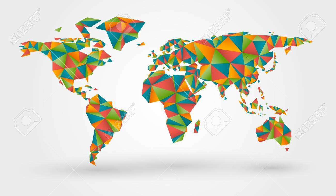 Carte Du Monde Origami.Polygonal Carte Du Monde Colore Dans Le Style Origami Clip Art