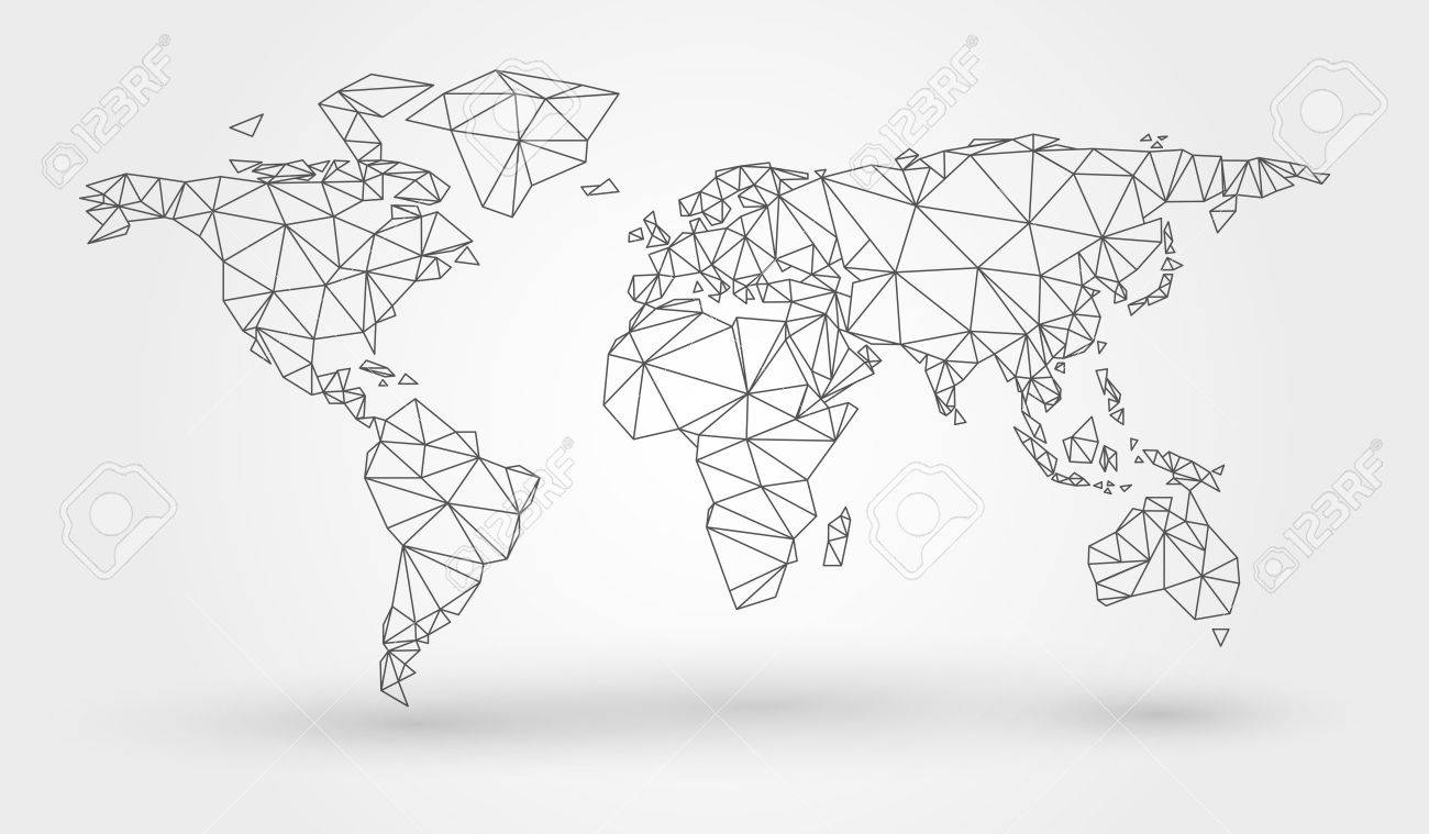 Abstract Map Of The World With Connected Triangular Shapes Formed