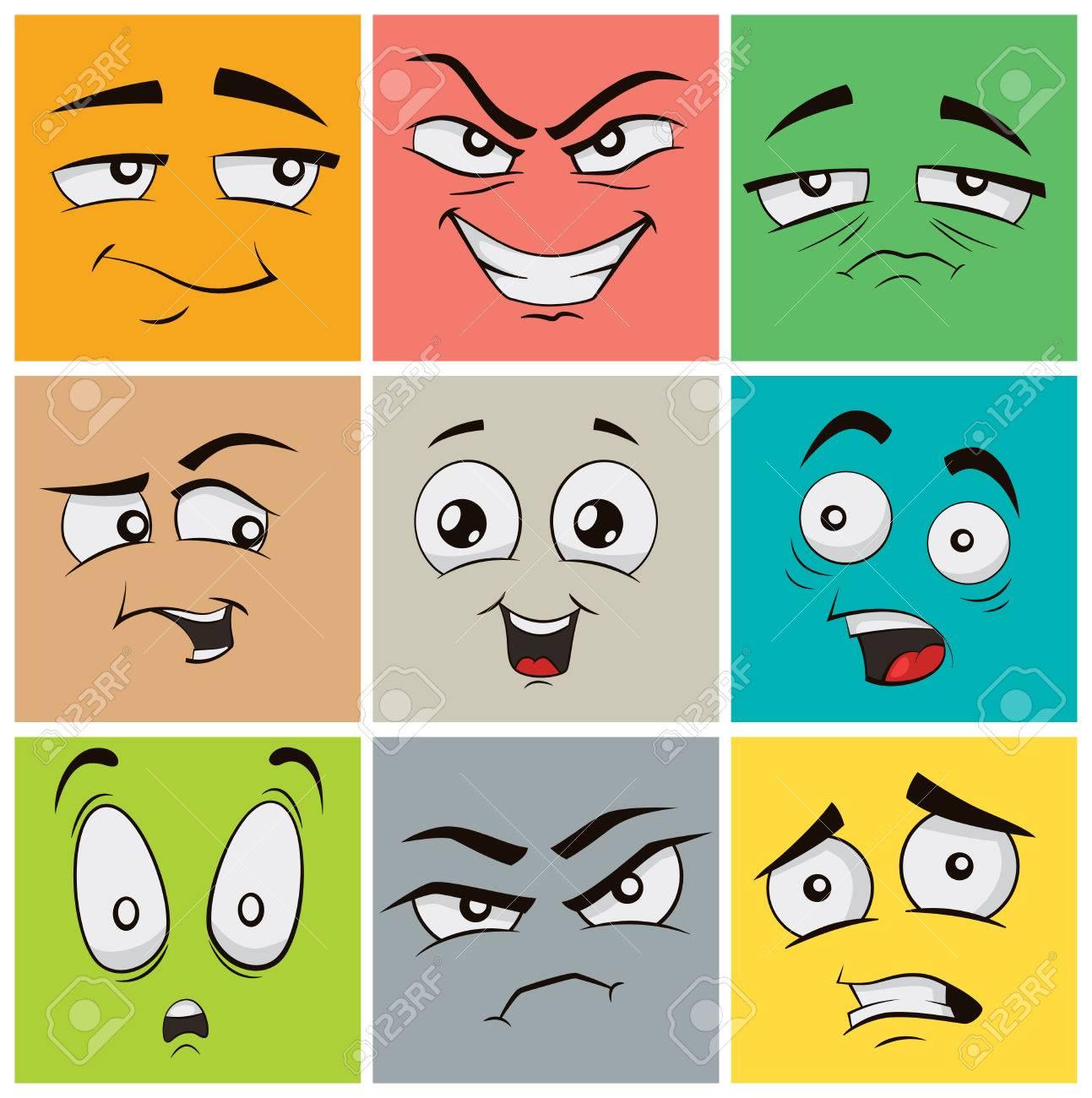 Colección De Expresiones Faciales Divertidas De Dibujos Animados Emoticonos