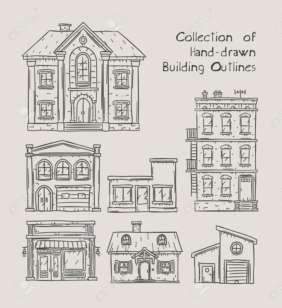 Doodle outline hand drawn buildings houses homes and public buildings vector illustrations stock vector