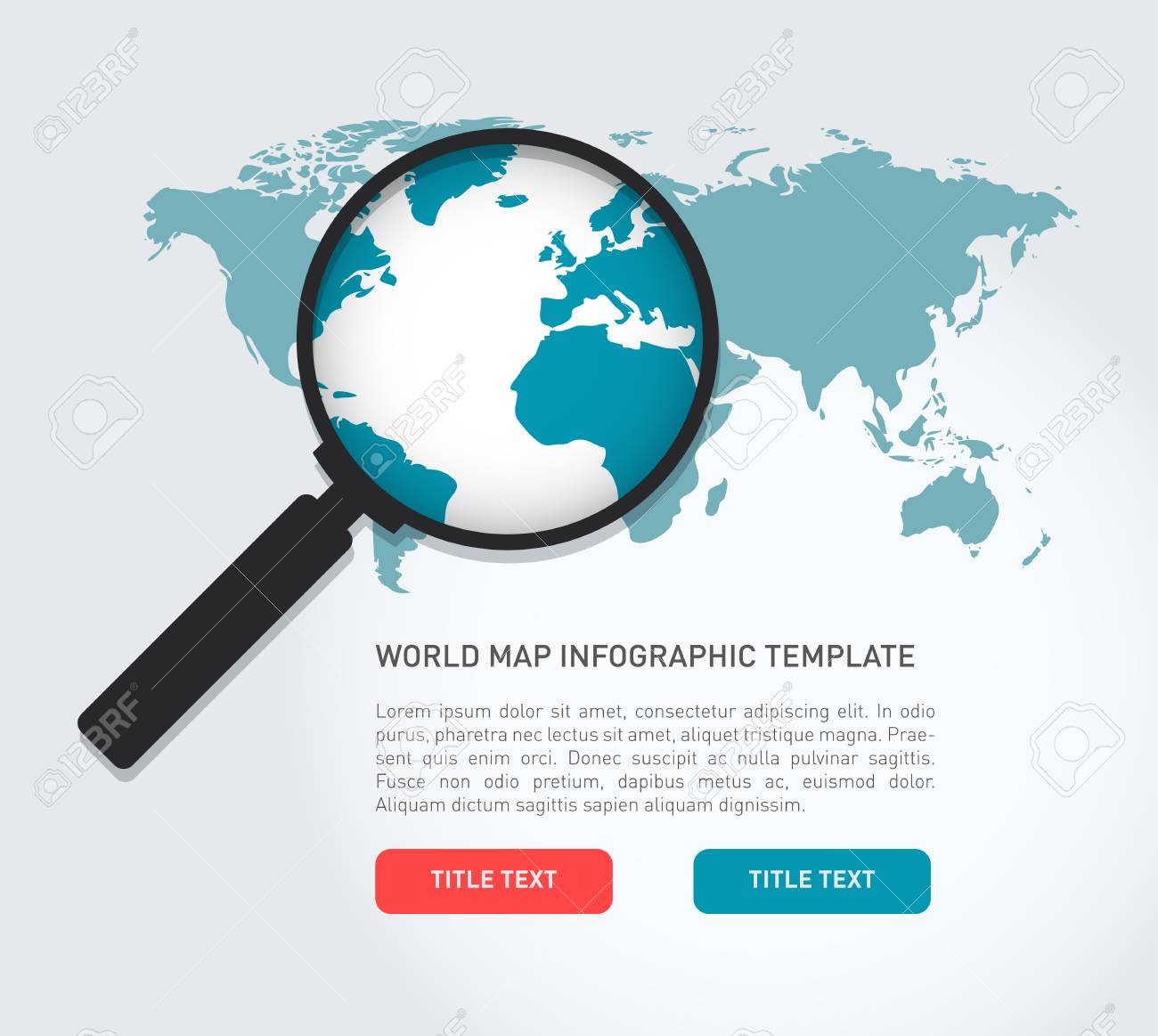 Search World Map.Global Search Concept In Flat Style With A World Map And A