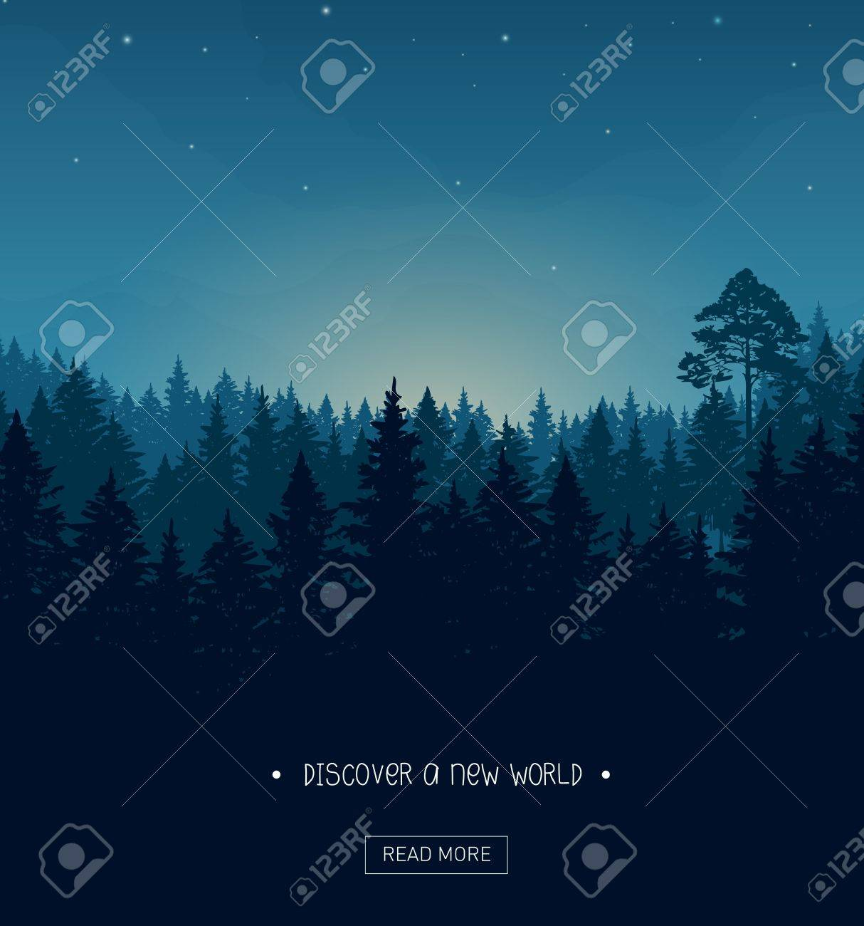 Coniferous forest silhouette background image with nightime stars and rays of the sunset - 74889509