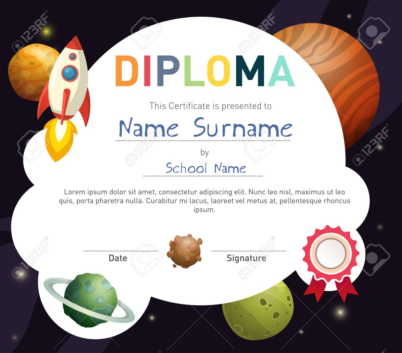 Science themed children diploma certificate template with rocket science themed children diploma certificate template with rocket and cute planets stock vector 76592606 yelopaper Image collections