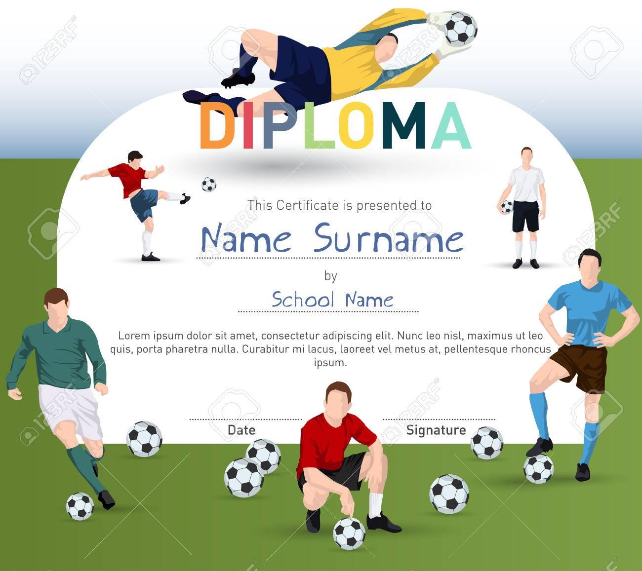Fußball-Themen-Zertifizierung Mit Fußballspieler-Illustrationen Und ...