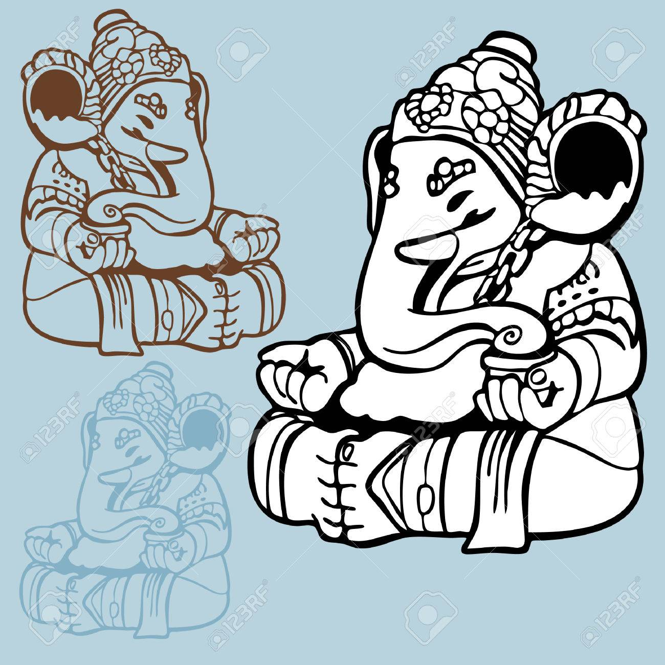 elephant god drawing indian god statue of ganesha in a line