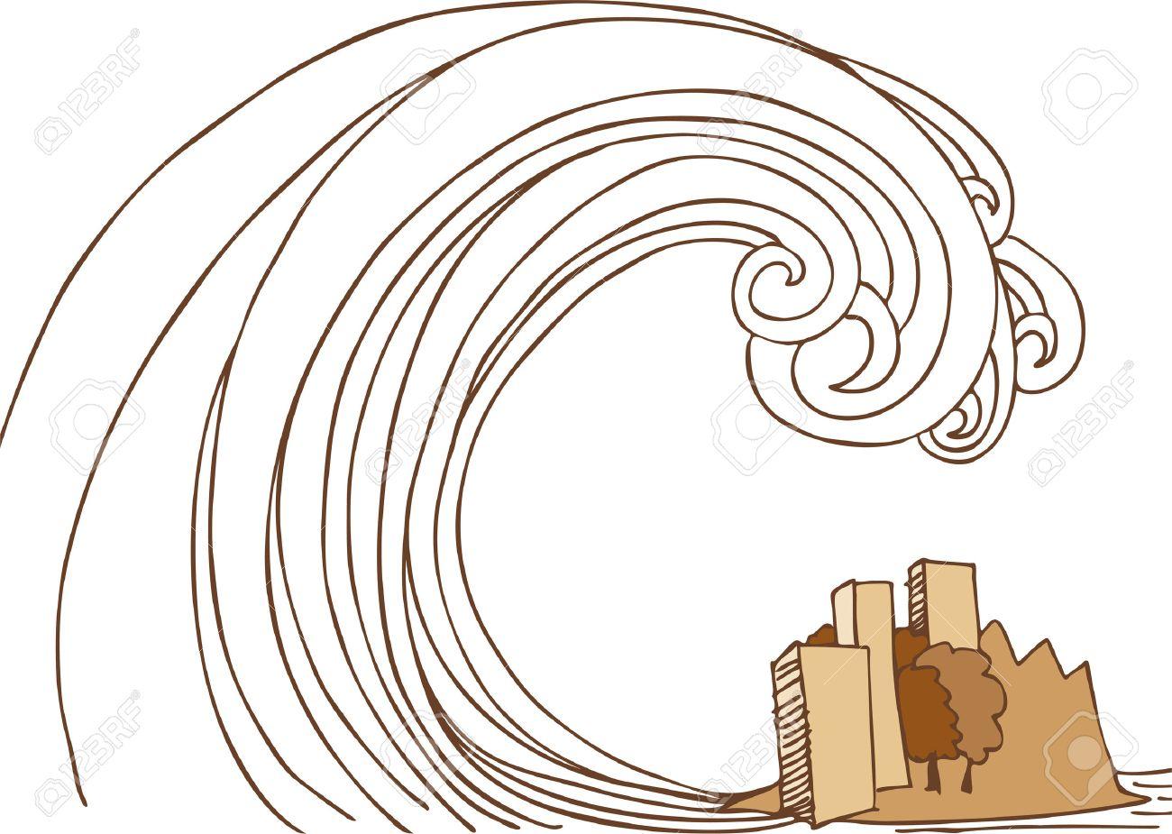 Tsunami Island : Hand drawn image of a giant wave crashing into small city. - 4957468