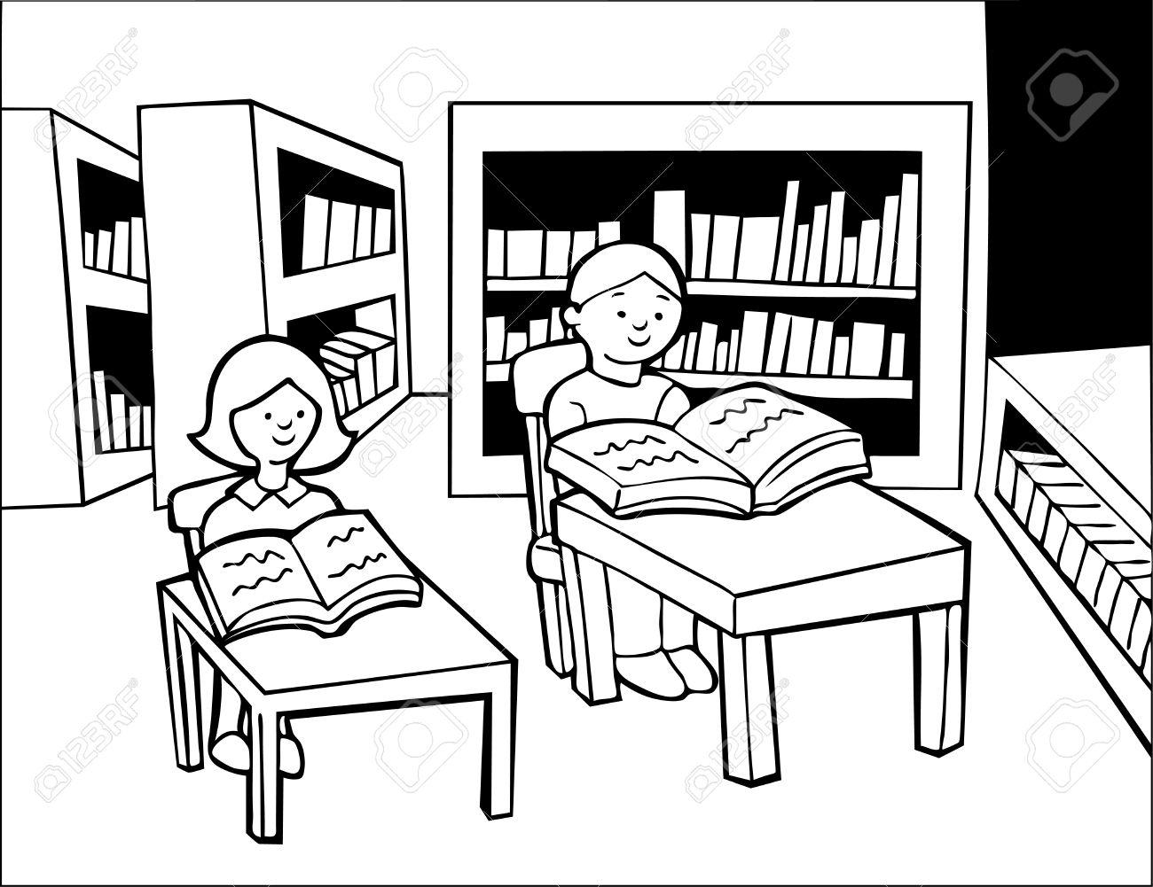Children Library Reading Line Art Boy And Girl Sitting At Desks