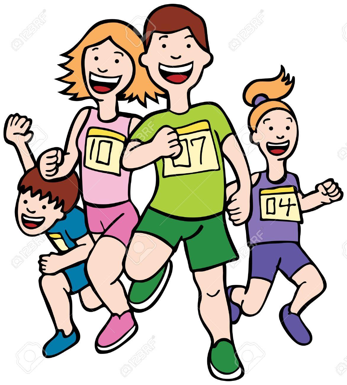 family run art cartoon of a family running together in a racing rh 123rf com Cartoon People Running Scared Two Cartoon People Running