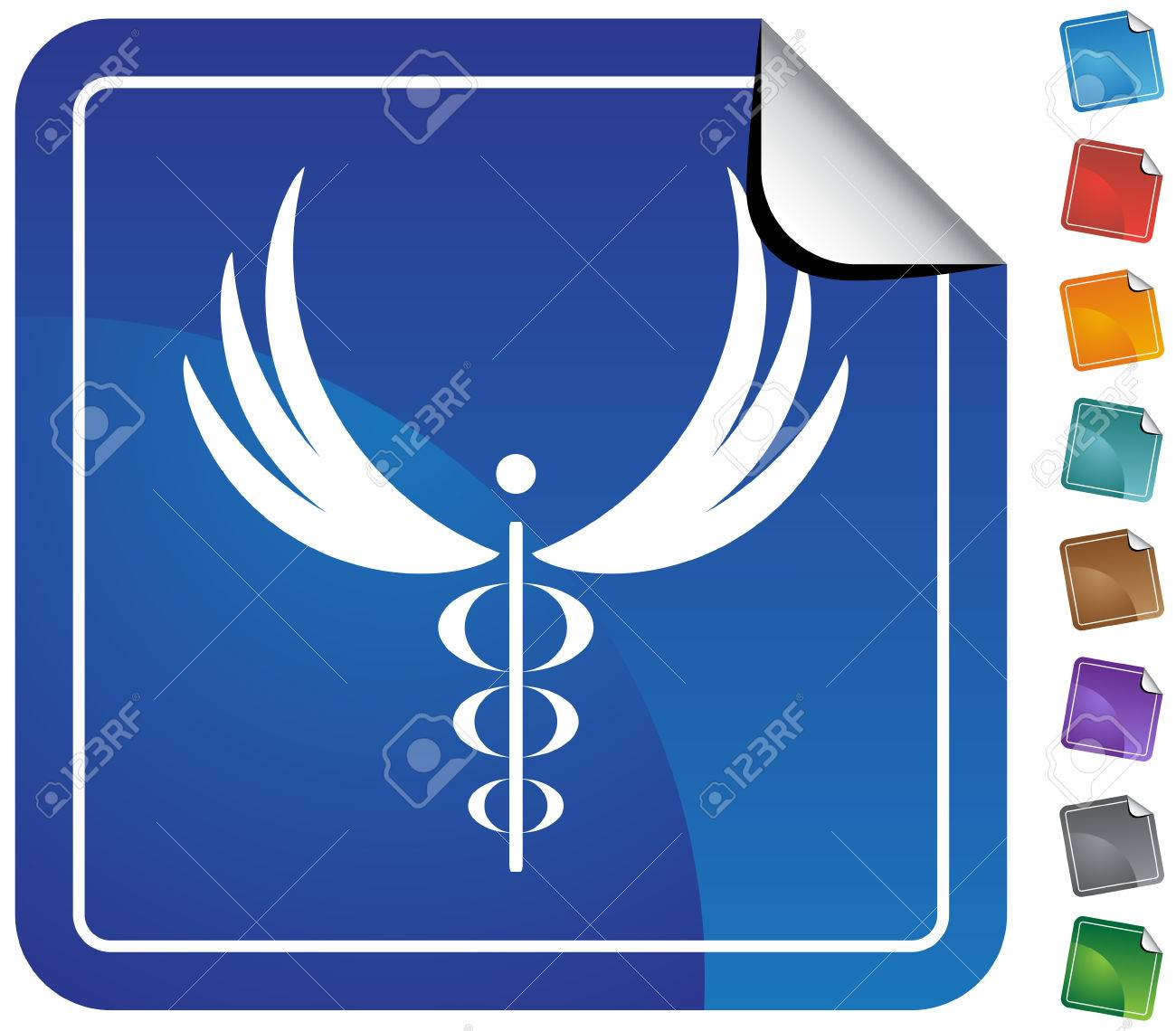 Caduceus Minimal Sticker : Medical symbol on a sticker. Stock Vector - 5163267
