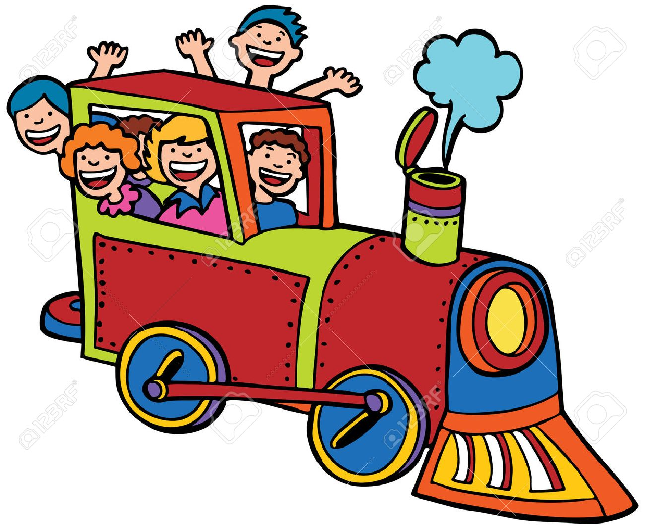 Cartoon Train Ride Color : Kids Wave From A Train. Royalty Free ...