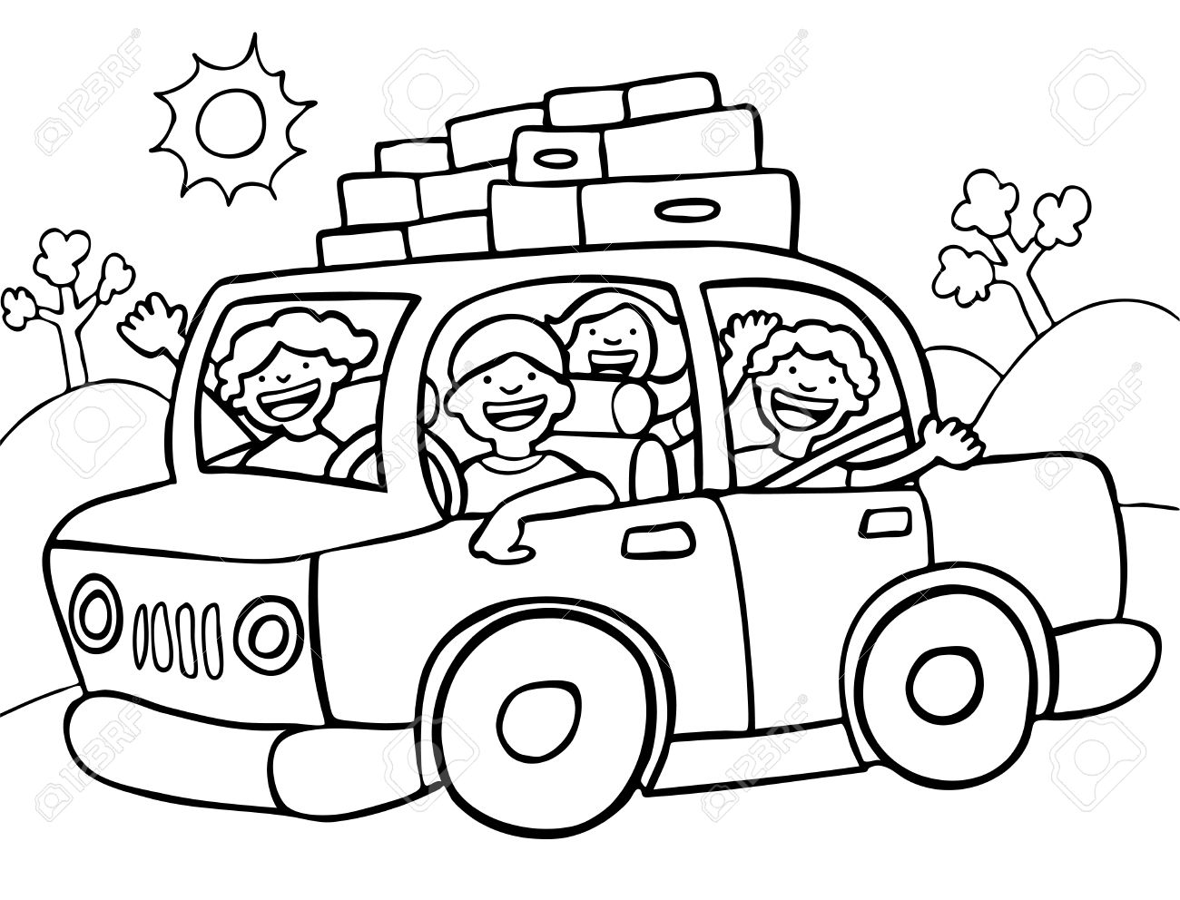 Road Trip Line Art Royalty Free Cliparts, Vectors, And Stock ...