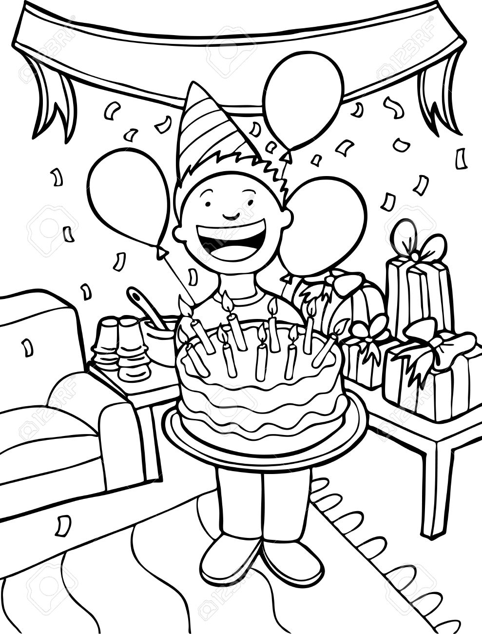 Party Line Drawing Birthday Party Line Art Child