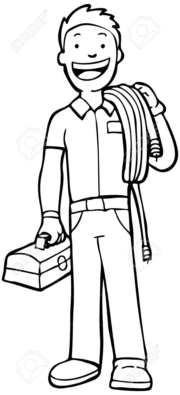 Cable Guy Line Art Man Carry Cable And Toolbox Royalty Free