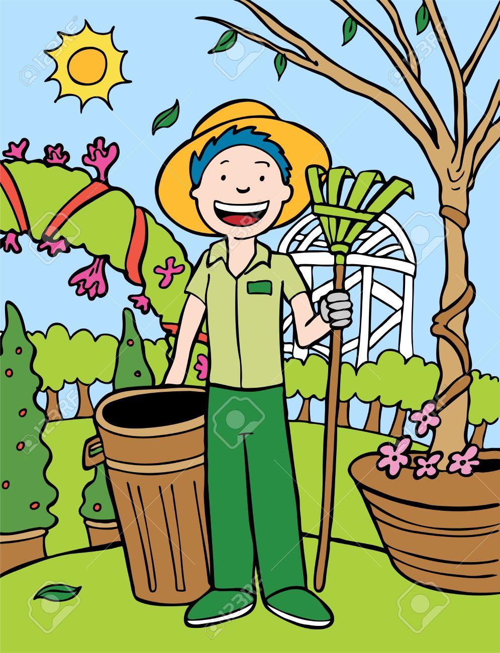 Cartoon Pics of Gardening Gardener Cartoon Vector