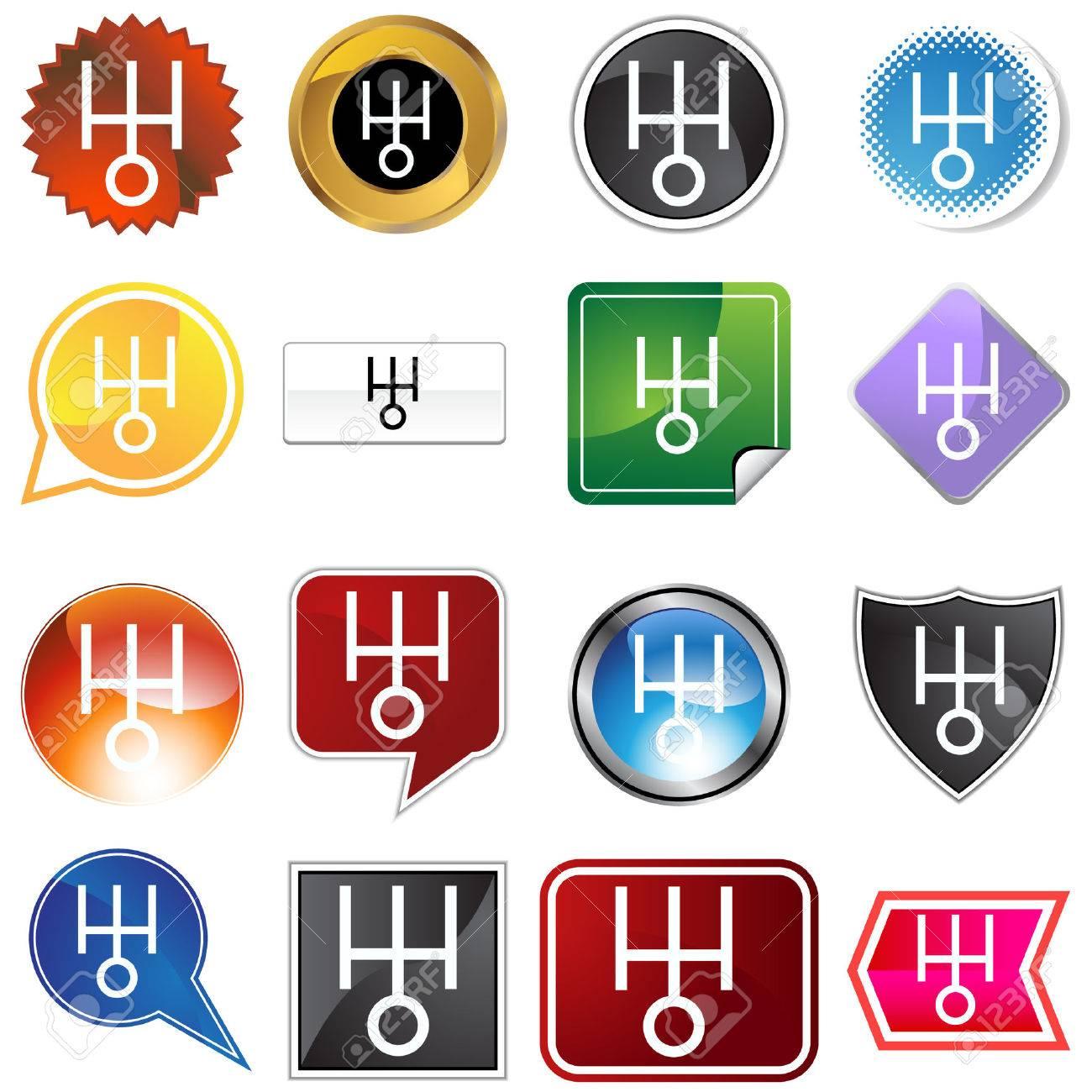 Uranus planetary sign icon set Stock Vector - 5552239