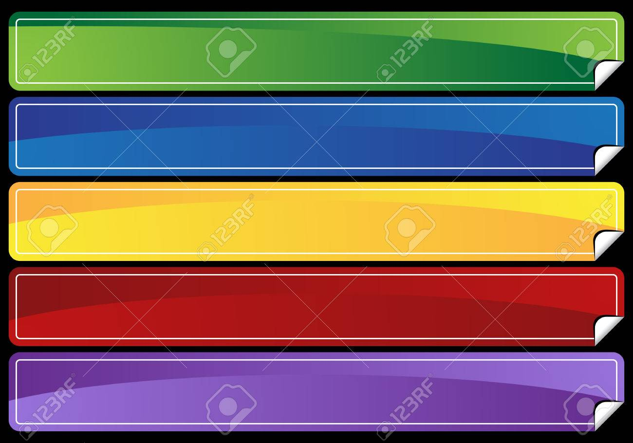 peeled edge banner set isolated on a black background. Stock Vector - 5640388