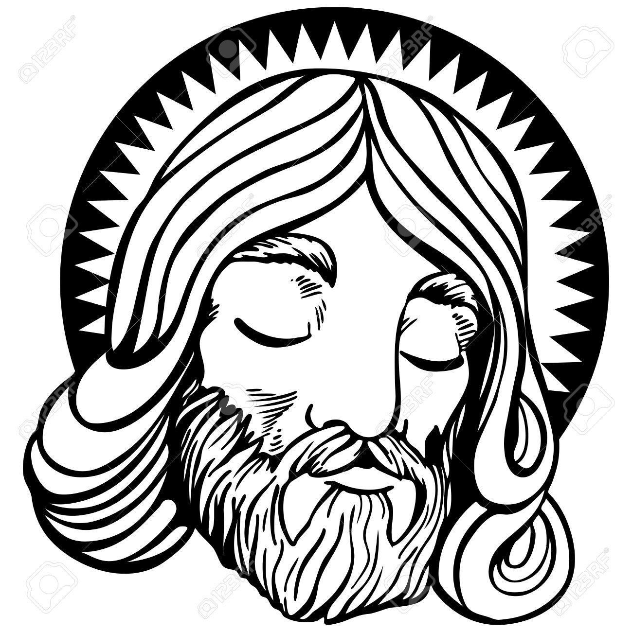 Rostro De Jesús Con Halo En Un Estilo De Dibujos Animados Aislado En