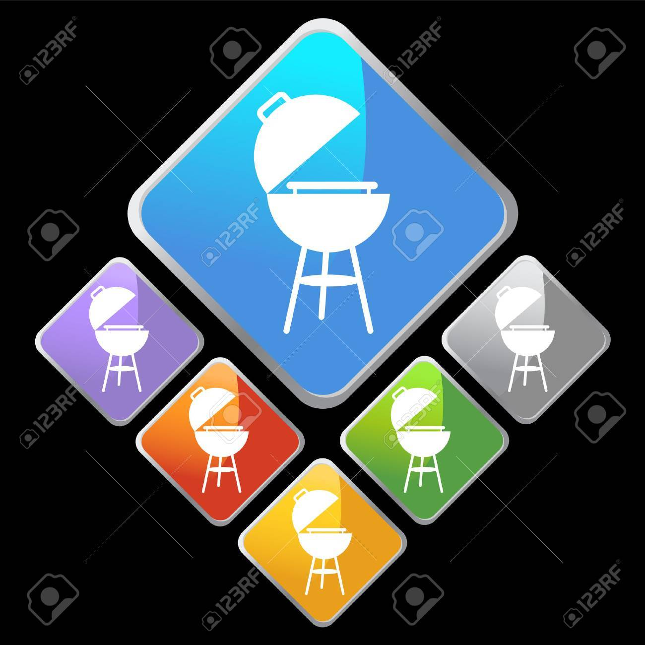 barbecue grill diamond isolated on a black background. Stock Vector - 5696752