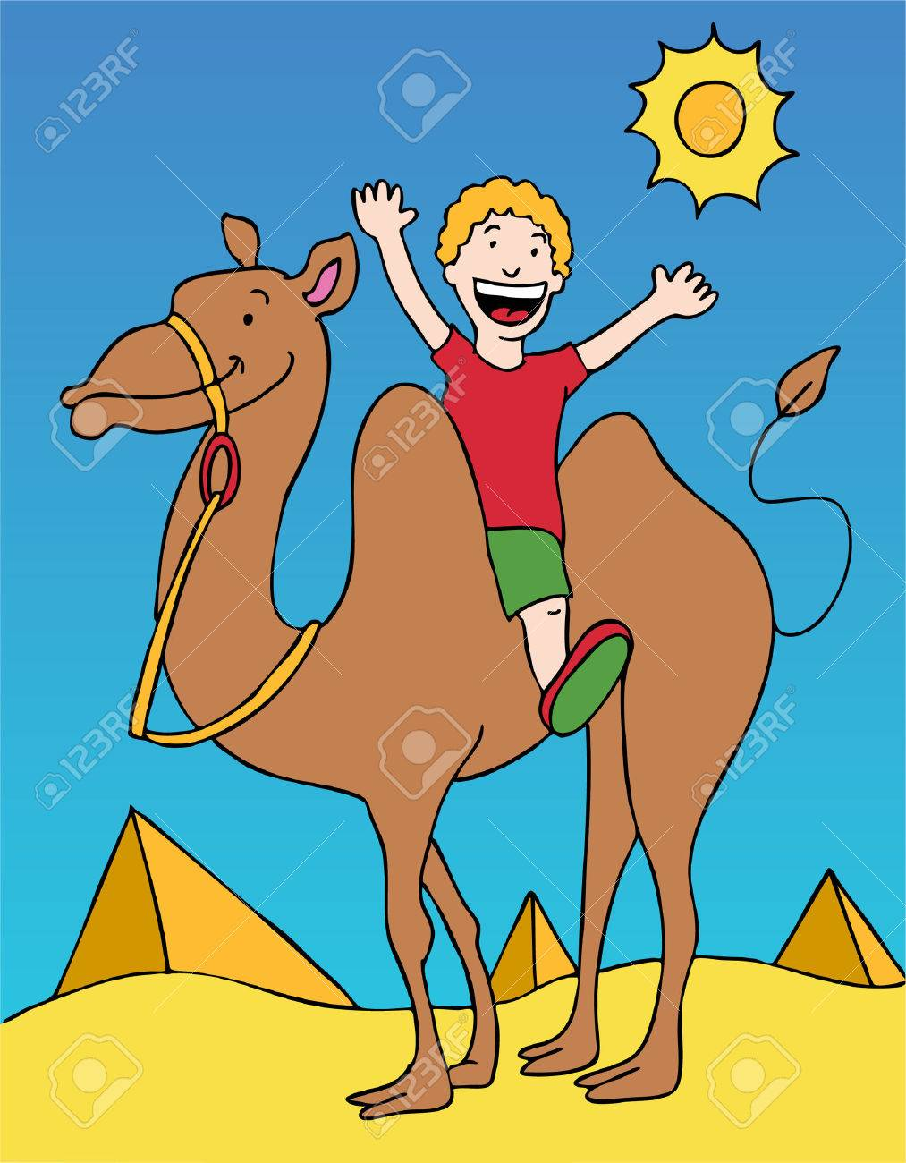 Camel Rider in the desert with two pyramids. Stock Vector - 5709981