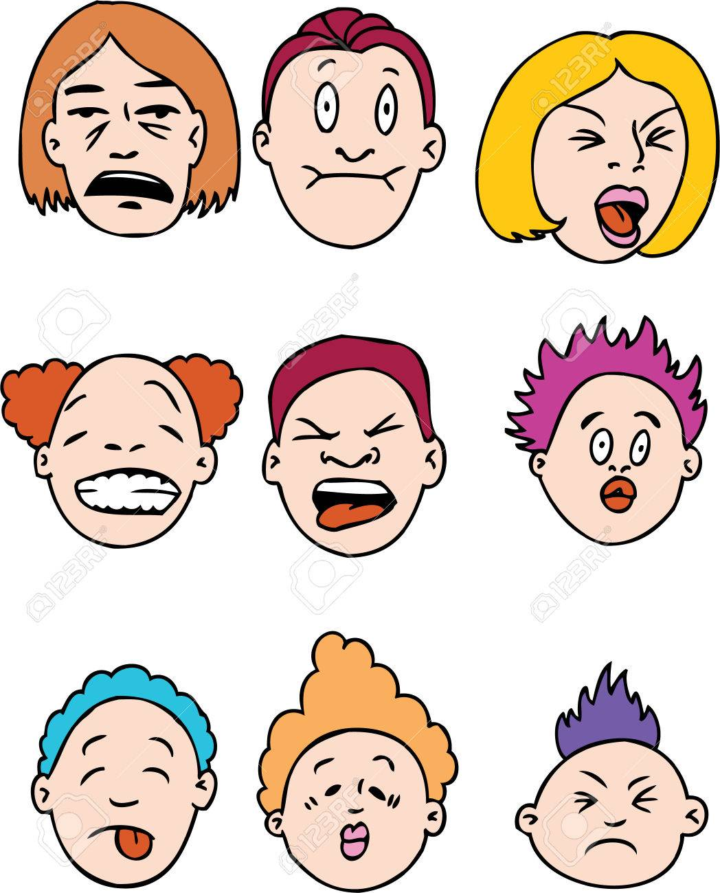 Grimace face clip art stock photo woman pulls a face in upset - Sour Face Sour People Isolated On A White Background