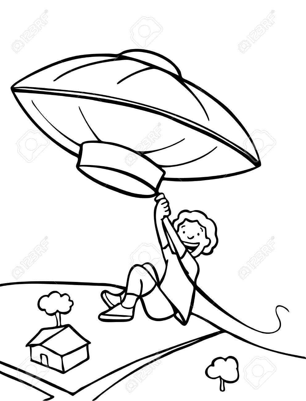 Kid flying away in a weather balloon. Stock Vector - 5783862