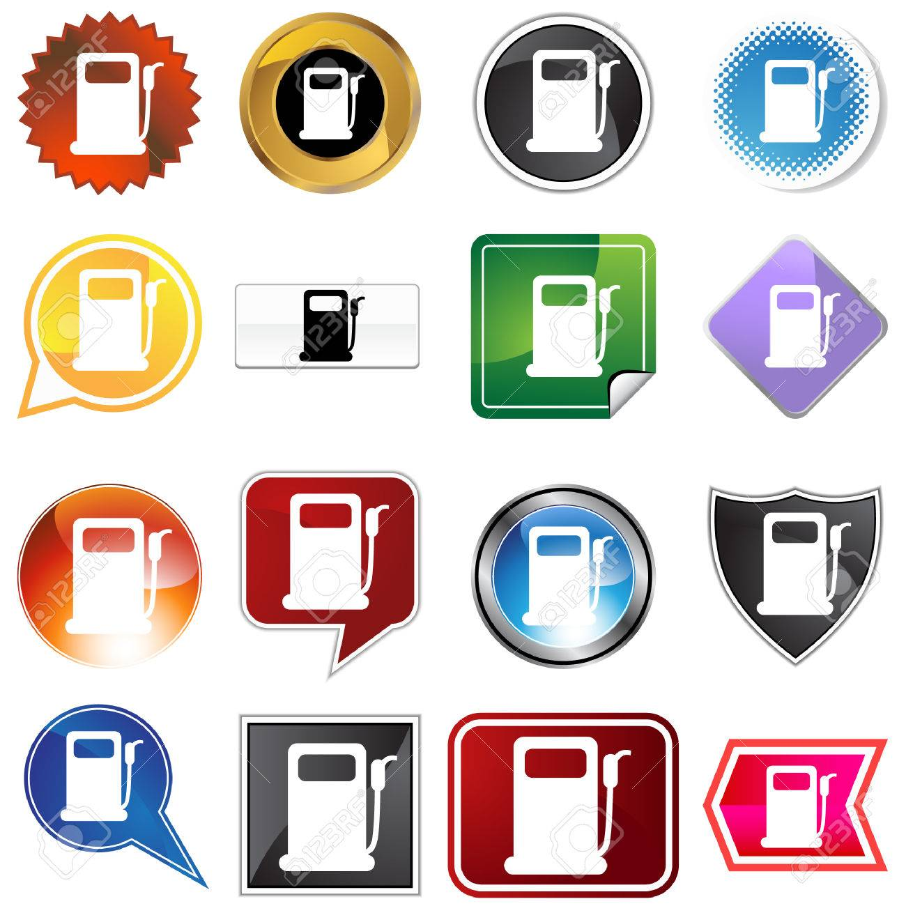 Gas pump label set isolated on a white background. Stock Vector - 5807913